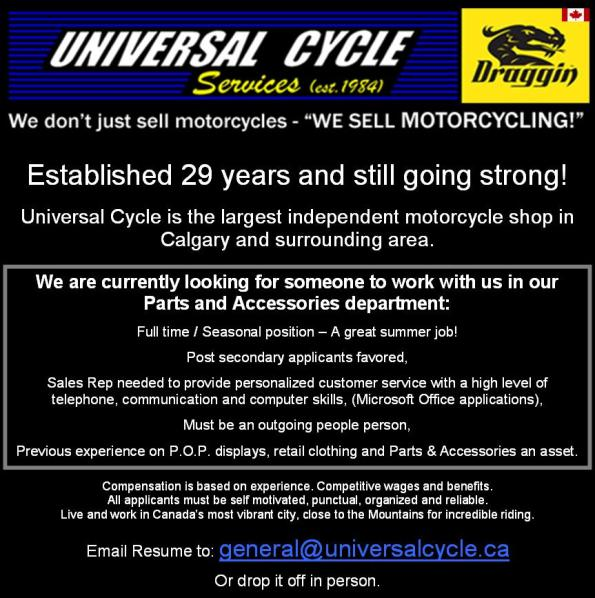 Universal Cycle Job Posting